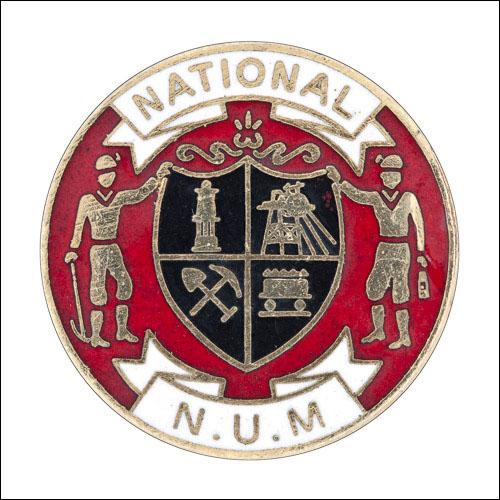 Greetings card of the enamel badge of the National Union of Mineworkers.