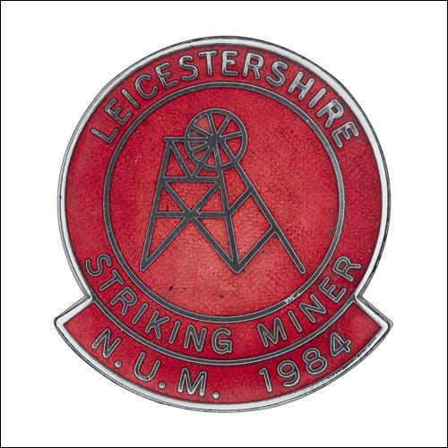 Greetings card of the enamel badge for the Leicestershire striking miners.