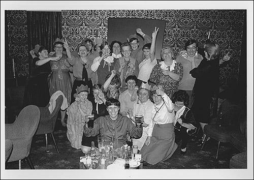 The greetings card showing a group of women who ran the kitchen and cafe at the Colliery Club enjoying themselves at the Christmas party in 1984.