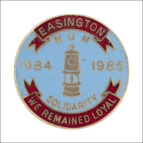 Greetings card of the enamel badge for the members of Easington Branch who remained loyal to their union during the miners' strike in 1984 to 1985.