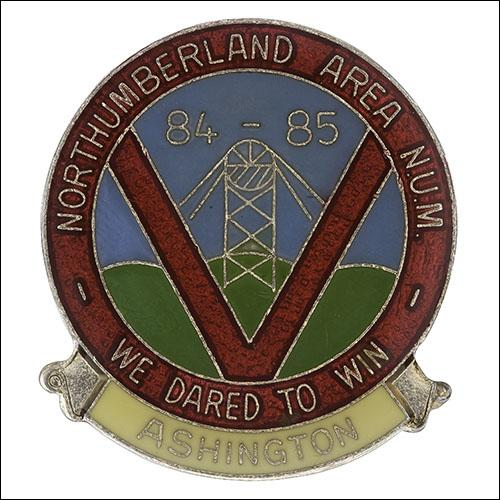 Greetings card of the enamel badge from strike of Ashington Branch of Northumberland Area of the NUM.
