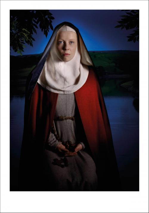 The front of the greetings card of Hild of Streoneshalh also known as Hilda of Whitby.