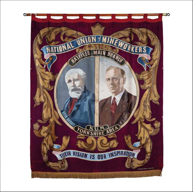 The front of the greetings card of the banner of Hatfield Main Branch of  the Yorkshire Area of the NUM.