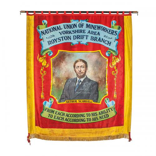 The front of the banner of Royston Drift Branch of the Yorkshire Area of the  NUM