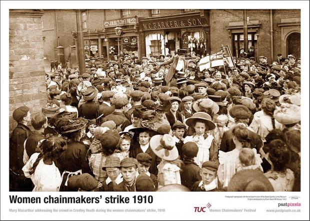 Poster of rally of striking Women Chainmakers being addressed by Mary McCarthur during the strike of 1910.