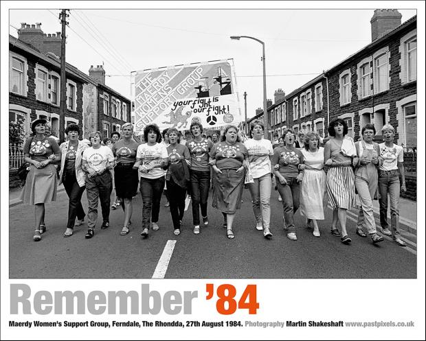 Poster of Maerdy Women's Support Group marching in Ferndale, The Rhondda, on 27th August 1984