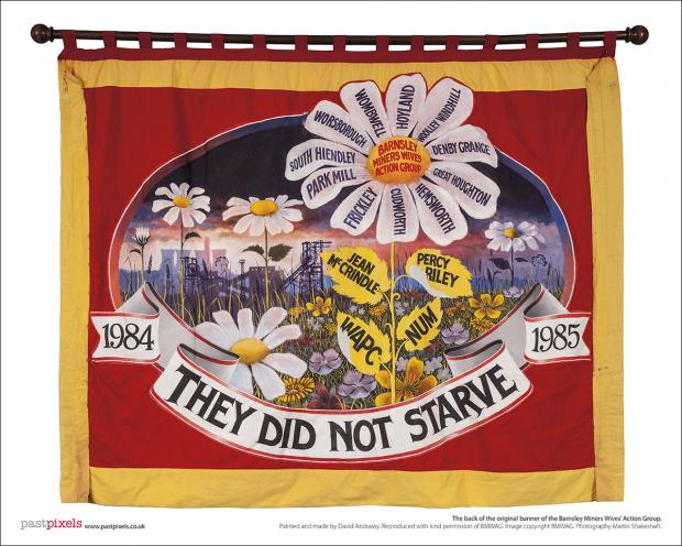 Poster of the back of the first banner of the Barnsley Miners Wives Action Group.