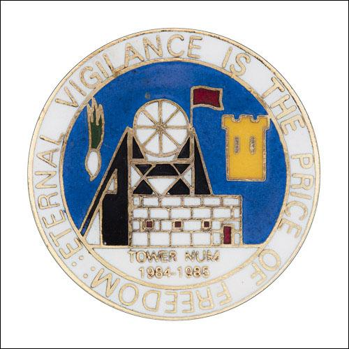 Greetings card of the enamel badge of Tower Lodge of South Wales Area of the NUM.