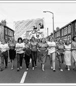 Greetings card of the Maerdy Women's Support Group marching in Ferndale, The Rhondda on 27 August, 1984.