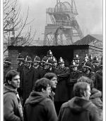 Greetings card of an early morning picket, Celynen South Colliery, South Wales, 6 November 1984.