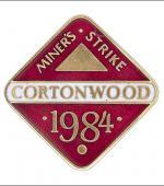 Greetings card of the enamel badge of Cortonwood Branch of the NUM.