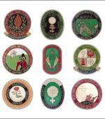 Greetings card of a collection of enamel badges of womens' groups from the coalfields.