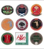Greetings card of a collection of badges about the picket at the Orgreave Coking Plant in 1984.