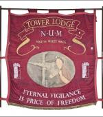 Greetings card of the front of the banner of Tower Lodge of South Wales Area of the NUM.