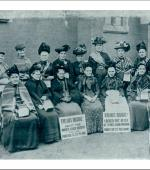 The front of the greetings card of women chainmakers in the 1910 strike.