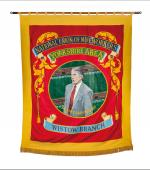 The front of the greetings card of the banner of Wistow Branch of the Yorkshire Area of the NUM.