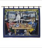 The front page of the greetings card of the second banner of the Barnsley Miners Wives Action Group showing the front of the banner.
