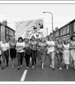 Postcard of Maerdy Women's Support Group on a march in Ferndale, The Rhondda, on 27th August 1984.