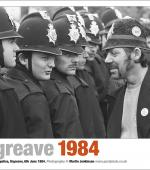 Poster of a picket facing a line of police officers at Orgreave coking plant, June 1984.